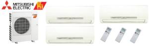 Mitsubishi MXZ5C42NAHZ MSZFH12NA x2 MSZFH18NA8 Tri Zone Hyper Heat Ductless Split System