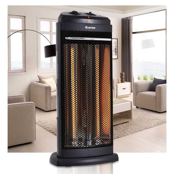 Costway Infrared Electric Quartz Heater Living Room Space Heating Radiant Fire Tower