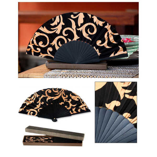 Silk 'Black Bali Glory' Batik Fan (Indonesia)