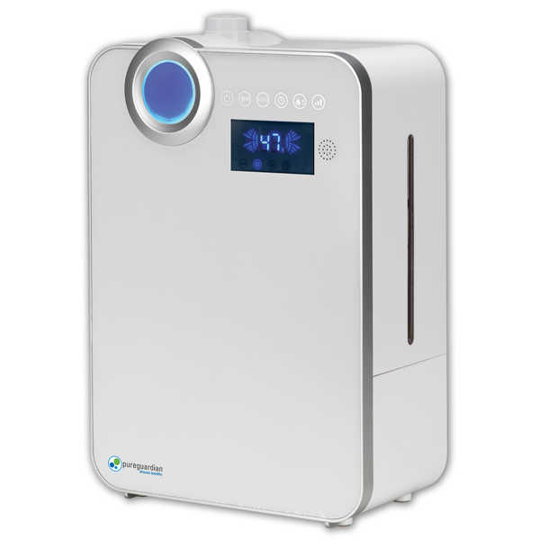 PureGuardian H7550 100 hr. Ultrasonic Warm Mist and Ultrasonic Cool Mist Humidifier with Digital Smart Mist Sensor - PureGuardian H7550W 90Hr Elite 1.32 Gall White Hum