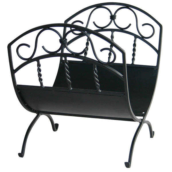 UniFlame Black Wrought Iron Log Rack W/ Scrolls