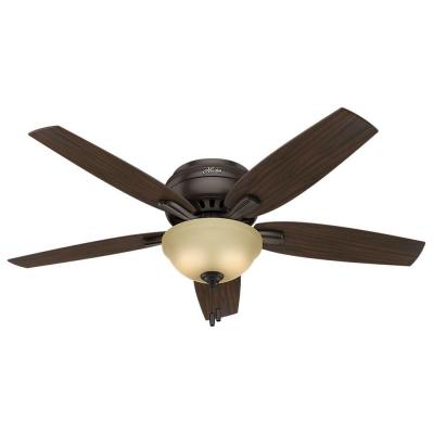 Newsome Low-Profile 52 in. Indoor Premier Bronze Bowl Light Kit Ceiling Fan