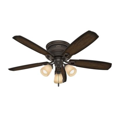 Ambrose 52 in. LED Indoor Onyx Bengal Low Profile Three Light Ceiling Fan