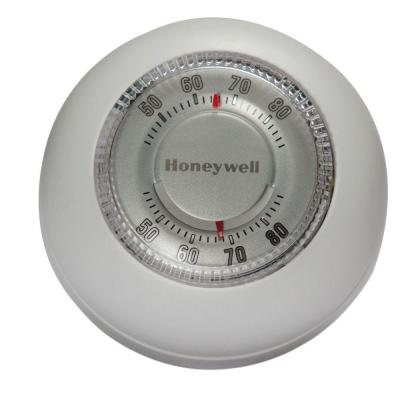 Round White Low-Voltage 24-Volt 1 Stage Heat Only Wall Thermostat